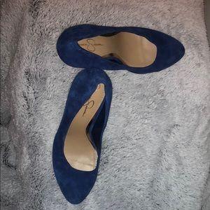 Fun royal blue pump 4 in heel suede